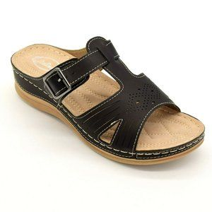 Italina Side Buckle Cut Out Slide Sandal NEW